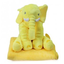 image of STUFFED CUTE SIMULATION GIANT ELEPHANT PLUSH DOLL TOY PILLOW WITH BLANKET BIRTHDAY CHRISTMAS GIFT (LIGHT YELLOW) -