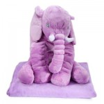 STUFFED CUTE SIMULATION GIANT ELEPHANT PLUSH DOLL TOY PILLOW WITH BLANKET BIRTHDAY CHRISTMAS GIFT (LIGHT PURPLE) -