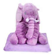 image of STUFFED CUTE SIMULATION GIANT ELEPHANT PLUSH DOLL TOY PILLOW WITH BLANKET BIRTHDAY CHRISTMAS GIFT (LIGHT PURPLE) -