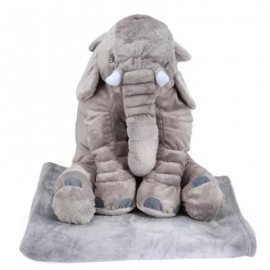 image of STUFFED CUTE SIMULATION GIANT ELEPHANT PLUSH DOLL TOY PILLOW WITH BLANKET BIRTHDAY CHRISTMAS GIFT (LIGHT GRAY) -