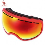 image of BENICE UV PROTECTION ANTI-FOG BIG SKIING GOGGLES MEN WOMEN SNOWBOARDING GLASSES (RED) -
