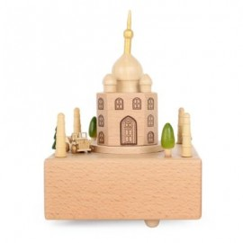 image of ROTATABLE DOME CASTLE WOODEN MUSIC BOX TOY DECORATION CHRISTMAS GIFT FOR KIDS (COLORMIX) -