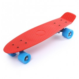 image of 22 INCH FOUR-WHEEL STREET LONG MINI FISH SKATEBOARD (RED) BLUE WHEEL