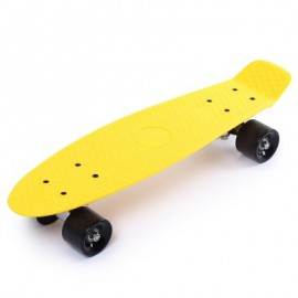image of 22 INCH FOUR-WHEEL STREET LONG MINI FISH SKATEBOARD (YELLOW) BLACK WHEEL