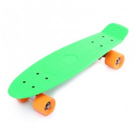 image of 22 INCH FOUR-WHEEL STREET LONG MINI FISH SKATEBOARD (GREEN) ORANGE WHEEL
