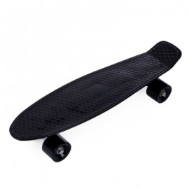 image of 22 INCH FOUR-WHEEL STREET LONG MINI FISH SKATEBOARD (BLACK) GREEN WHEEL