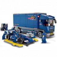 image of SLUBAN BULL RACING TRUCK 641 PIECES BUILDING BLOCKS (DEEP BLUE) 0