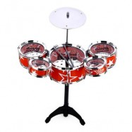 image of WANYI KIDS DELUXE JAZZ DRUMS KIT MUSICAL INSTRUMENT TOY WITH CYMBAL STOOL CHRISTMAS BIRTHDAY GIFT (RED) One Size