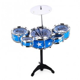 image of WANYI KIDS DELUXE JAZZ DRUMS KIT MUSICAL INSTRUMENT TOY WITH CYMBAL STOOL CHRISTMAS BIRTHDAY GIFT (BLUE) One Size