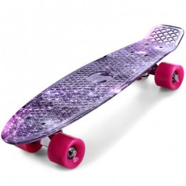 image of CL - 95 22 INCH PURPLE STARRY SKY PATTERN RETRO SKATEBOARD LONGBOARD MINI CRUISER 56.00 x 15.00 x 10.00 cm