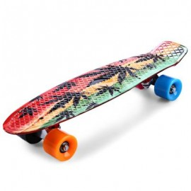 image of CL-24 22 INCH GRAFFITI MAPLE LEAF RETRO SKATEBOARD LONGBOARD MINI CRUISER 56.00 x 15.00 x 10.00 cm
