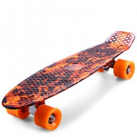 image of CL - 78 22 INCH HELLFIRE PATTERN RETRO SKATEBOARD LONGBOARD MINI CRUISER 56.00 x 15.00 x 10.00 cm
