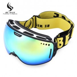 image of BENICE UV PROTECTION DOUBLE ANTI-FOG LENS BIG SPHERICAL SKIING GLASSES SNOW GOGGLES (BLACK) 3801 - BLACK LOGO