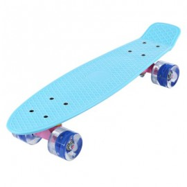 image of 22 INCHES MINI CRUISER BANANA STYLE LONGBOARD PASTEL COLOR BOARD WITH LED FLASHING WHEELS (LIGHT BLUE) -