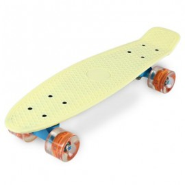 image of 22 INCHES MINI CRUISER BANANA STYLE LONGBOARD PASTEL COLOR BOARD WITH LED FLASHING WHEELS (LIGHT YELLOW) -