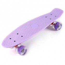 image of 22 INCHES MINI CRUISER BANANA STYLE LONGBOARD PASTEL COLOR BOARD WITH LED FLASHING WHEELS (LIGHT PURPLE) -