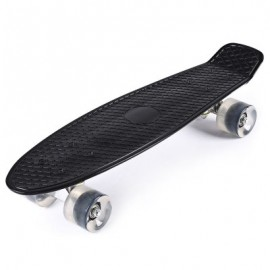 image of 22 INCHES MINI CRUISER BANANA STYLE LONGBOARD PASTEL COLOR BOARD WITH LED FLASHING WHEELS (BLACK) -