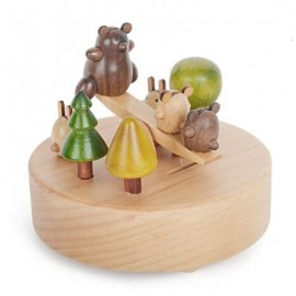 image of ROTATABLE LOVELY BEAR WOODEN MUSIC BOX TOY FOR KIDS (COLORMIX) -