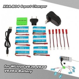 image of WSX / MX X6A - B04 6 - PORT CHARGER 750MAH 25C 3.7V ACCESSORIES OF WLTOYS V636 / V686 / V686G 3A US PLUG WITH EU ADAPTER (COLORMIX) US PLUG