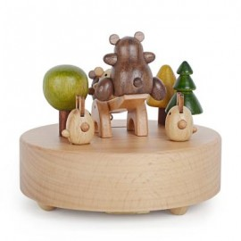 image of ROTATABLE LOVELY BEAR WOODEN MUSIC BOX TOY FOR KIDS 9.50 x 9.50 x 10.10 cm