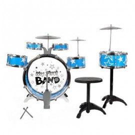 image of KIDS DRUMS KIT MUSICAL INSTRUMENT TOY WITH CYMBALS STOOL CHRISTMAS BIRTHDAY GIFT (BLUE) -