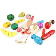 image of 20PCS WOODEN CUTTING FRUITS AND VEGETABLES BARRELED TOY (COLORFUL) -