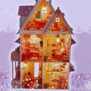 image of IIECREATE LOVELY DIY HANDMADE ASSEMBLED VILLA 42CM HEIGHT HOUSE MODEL PRINCESS ROMANTIC (PINK) -