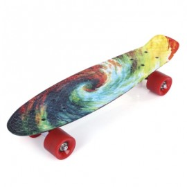 image of 22 INCH PRINTING PATTERN FOUR-WHEEL STREET LONG FISH SKATEBOARD (BLUE+YELLOW+GREEN) -