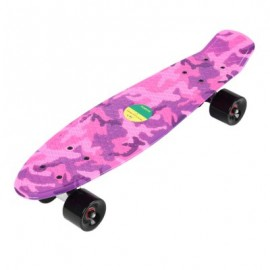 image of 22 INCHES FOUR-WHEEL LONG KICK-TAIL SKATEBOARD MINI CRUISER FISH BANANA BOARD (PINK) -