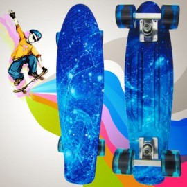 image of 100KG LOAD RETRO SKATEBOARD STARRY SKY PATTERN MINI BOARD FOR OUTDOOR SPORT (BLUE) -