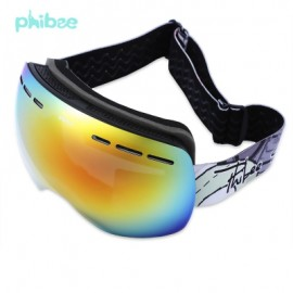 image of PHIBEE UV PROTECTION ANTI-FOG BIG SKIING GOGGLES MASK MEN WOMEN SNOWBOARDING GLASSES (BLACK) PH166ABK