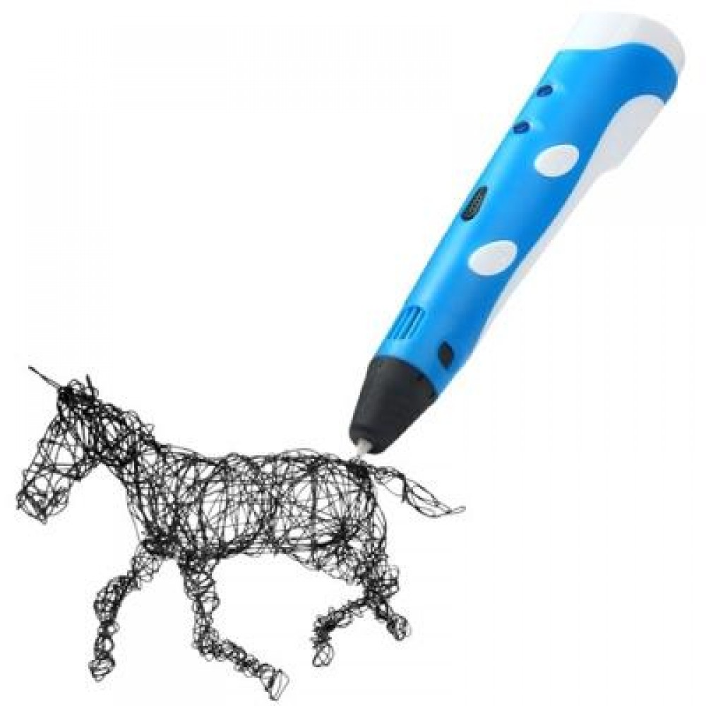 INNOVATIVE 3D PRINTER PEN THREE - DIMENSIONAL PAINTING DRAWING FOR GIFT ( 100 - 240V ) (BLUE) -