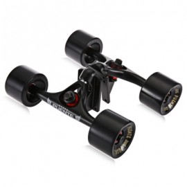 image of 2PCS / SET SKATEBOARD TRUCK WITH SKATE WHEEL RISER PAD BEARING HARDWARE ACCESSORY INSTALLING TOOL (BLACK) -