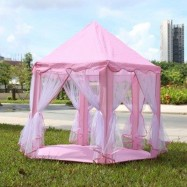 image of PORTABLE PRINCESS CASTLE PLAY TENT ACTIVITY FAIRY HOUSE FUN INDOOR OUTDOOR PLAYHOUSE TOY (LIGHT PINK) -