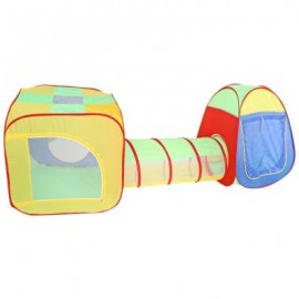 image of KIDS PORTABLE FOLDING POP UP TUNNEL TENT CUBBY PLAY HOUSE HUT (COLORMIX) -