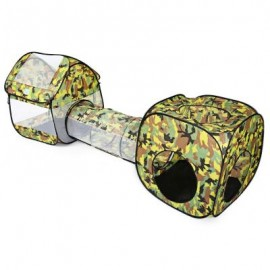 image of PORTABLE FOLDABLE CAMOUFLAGE POP UP TUNNEL TENT CHILDREN KIDS CUBBY PLAY HOUSE HUT (CAMOUFLAGE) One Size