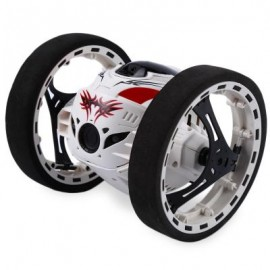 image of 2.4G REMOTE CONTROL JUMPING CAR 2 SECOND ROTATION BOUNCE RC TOY (WHITE) 13.00 x 11.00 x 12.00 cm