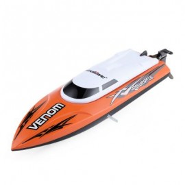 image of TEMPO POWER VENOM 2.4G RC BOAT WITH AUTO RECTIFYING DEVIATION DIRECTION FUNCTION (ORANGE) 32.4 x 8.9 x 8.8cm