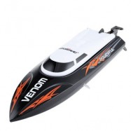 image of TEMPO POWER VENOM 2.4G RC BOAT WITH AUTO RECTIFYING DEVIATION DIRECTION FUNCTION (BLACK) 32.4 x 8.9 x 8.8cm