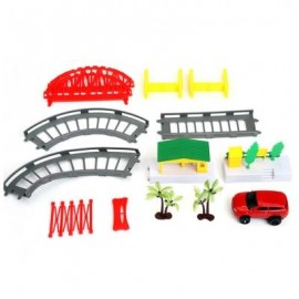 image of CHILDREN DIY RAIL CAR RACING TRACK BUILDING BLOCK TOY (COLORMIX) -
