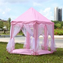 image of PORTABLE PRINCESS CASTLE PLAY TENT ACTIVITY FAIRY HOUSE FUN INDOOR OUTDOOR PLAYHOUSE TOY (LIGHT PINK) One Size