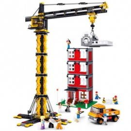 image of SLUBAN CRANE TOWER AND BUILDING - 1461 PIECES EDUCATIONAL BLOCKS TOYS (MAIZE) 0