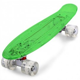 image of CL - 403 22 INCH TRANSPARENT PC LED RETRO SKATEBOARD LONGBOARD MINI CRUISER (CRYSTAL GREEN) -