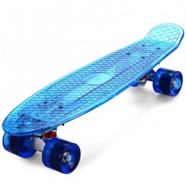 image of CL - 402 22 INCH TRANSPARENT PC LED RETRO SKATEBOARD LONGBOARD MINI CRUISER (BLUE) -