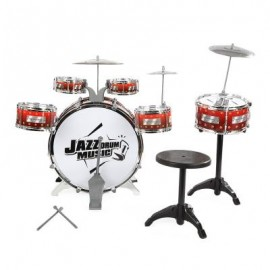 image of KIDS CYMBALS STOOL DRUMS KIT MUSICAL INSTRUMENT TOY (WINE RED) One Size