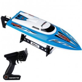 image of 2.4G HIGH SPEED RC BOAT WITH WATER COOLING SYSTEM BRUSHED MOTOR (BLUE) 42.80 x 11.30 x 8.00 cm