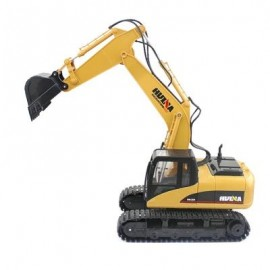 image of HUINA 1550 1:14 2.4GHZ 15CH RC ALLOY EXCAVATOR RTR WITH INDEPENDENT ARMS PROGRAMMING AUTO DEMONSTRATION FUNCTION (YELLOW) -