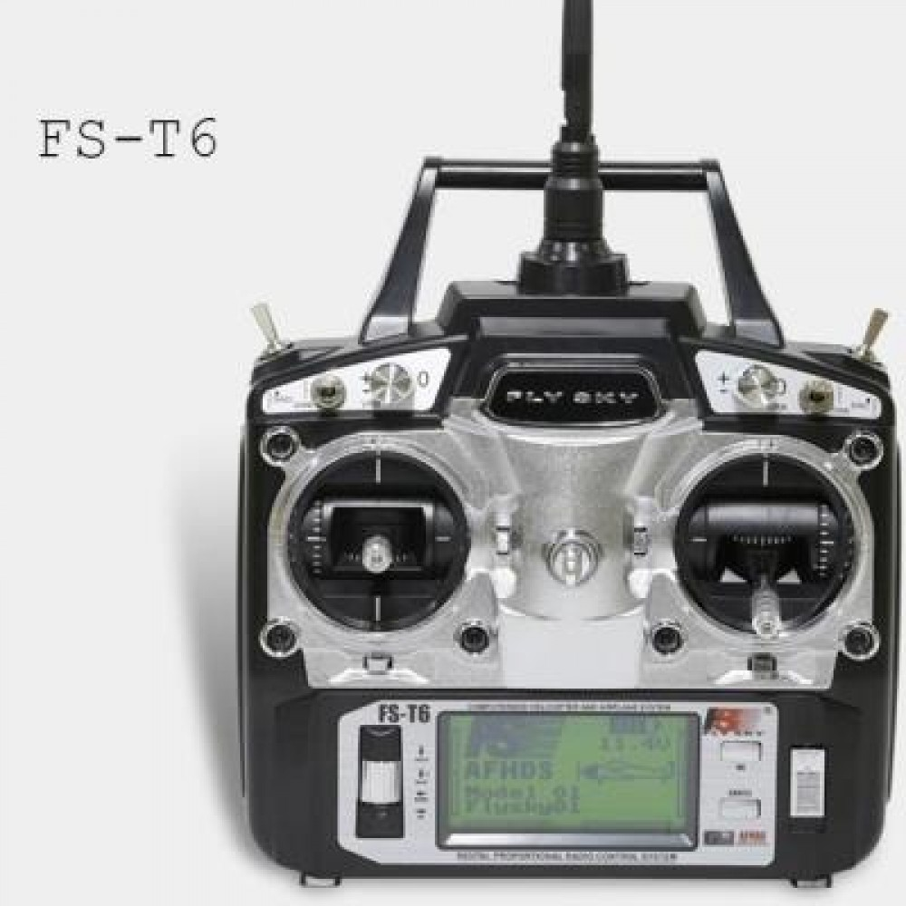 FLYSKY FS - T6 2.4GHZ 6CH 500 CONTROL DISTANCE TRANSMITTER FOR RC AIRCRAFT MODELS (BLACK) -