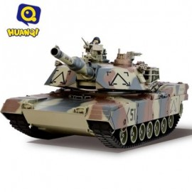 image of HUANQI 781 - 10 M1A2 27MHZ SIMULATION INFRARED RC BATTLE TANK TOY (ARMY GREEN CAMOUFLAGE) -