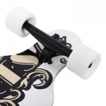 PUENTE SILENT LONG SKATEBOARD ROLLER SCOOTER ENTERTAINMENT SPORT KIT (WHITE AND GOLDEN) -